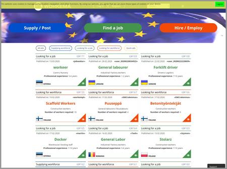 Сайт сервиса аренды рабочей силы в Европе